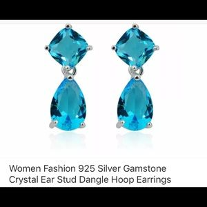 Beautiful deep ocean blue crystal earrings